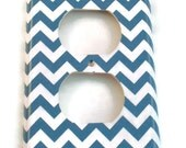 Light Switch Cover Outlet Wall Decor Switchplate Switch Plate in  Blue Chevron  (227O)