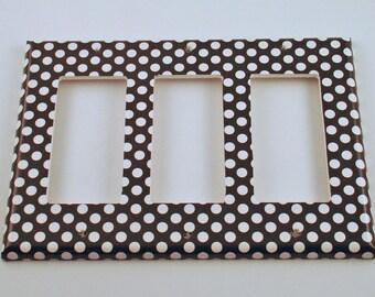 Triple Rocker  Light Switch Cover  Switchplate   in  Polka Dots Rock (207TR)