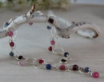 AA Sapphire Bracelet Multi-Colored Bracelet Sterling Silver Chain