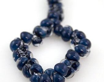 10 Boundless Blue Teardrop Handmade Lampwork Beads - 10mm (22121)