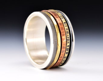Kinetic Series - Spinner.   Mixed Metal Spinner Ring