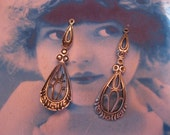 Sterling Silver Ox Plated Filigree Earring Dangles 489SOX x2