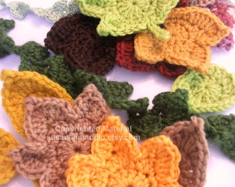 Instant Download Fast and Easy Autumn Leaves Crochet PATTERN set - CROCHET 3 Leaf Appliques and 2 Garlands - Instant Dowload