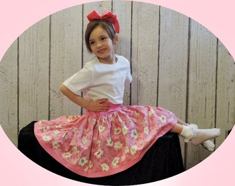 Twirl Skirt Pink With Flowers size 5