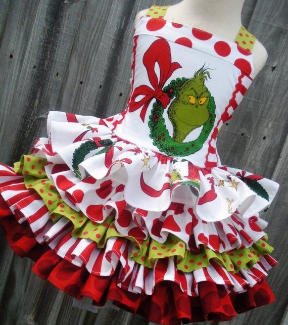 Boutique grinch girl dress 2 3 4 5 6 7 8 made to order christmas