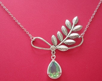 Green Opal Drop And Antiqued Silver Branch  Necklace.