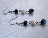 READY TO SHIP - Sale - Black and White Pearl and Czech Dangle Earrings - Bella Mia Beads
