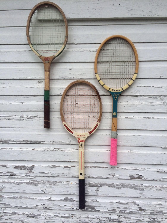 Trio Of Vintage Tennis Rackets Bold Color