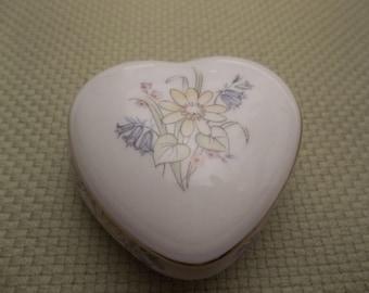 Hammersley Bluebell Vintage Bone China Heart-Shaped Box