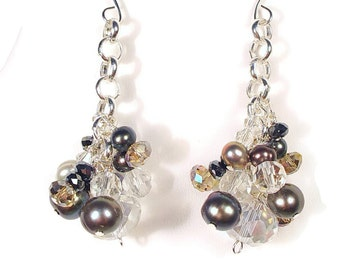 Freshwater Pearl and  Crystal Dangle Earrings