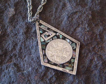 Necklace, Vintage Pendant and Chain with a Shell Inlay Design