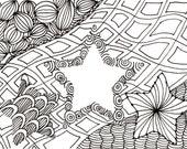 Printable DIY Zendoodle Stars-2 card 5x7 pdf from Kauai Hawaii Mele Kalikimaka Christmas doodle black white zentangle inspired art