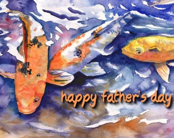 Printable DIY Father's Day card 5x7 pdf Japanese Koi from Kauai by Marionette Oriental Asian Fish