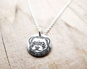 Tiny Ferret necklace, silver Ferret jewelry, pet memorial necklace, remembrance jewelry
