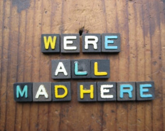 We're All Mad Here Vintage Wood Anagram Game Pieces, Vintage Home Decor Gifts under 25, Alice in Wonderland, Black Friday Etsy