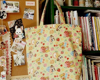 Japanese Original Handmade ECO-Friendly Reusable Shopping Tote by Japanese Kokka Fabric