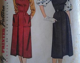 Vintage 50s Geometric Neckline Pleat Front Sundress Jumper Dress Bishop Sleeve Blouse Sewing Pattern Simplicity 3744 B34