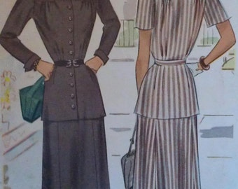 Vintage 40s Waist Waist Yoked Button Front Turnback Cuff Jacket Skirt Suit Sewing Pattern 7296 B34