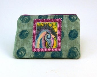 Zippered Pouch iPod Case Coin Money Holder Small Gadget Pouch Painted Horse Made in the USA