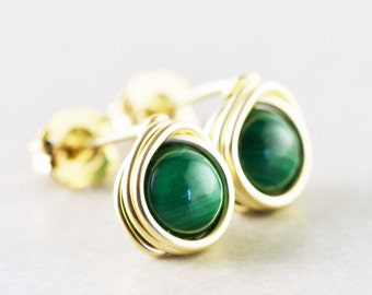 Green Studs, Malachite Posts, Green Post Earrings, Handmade