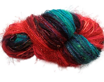 Scraplet Skeins unique multi-textured hand-tied art yarn in Caribbean Christmas- 120 yds.