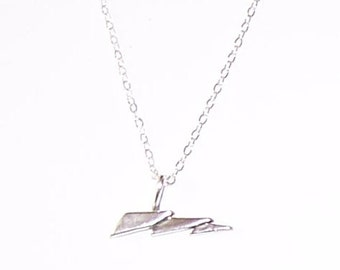Sterling LIGHTNING BOLT  Pendant and Chain - Weather,  Science
