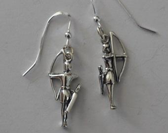 Sterling Silver 3D ARCHER Earrings - Archery, Saggitarius