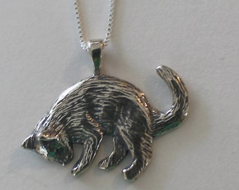 Sterling KITTY CAT  Pendant with 20 Inch Chain - Feline, Pet