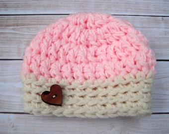 Crochet Baby Girl Hat, Baby Girl Beanie, Newborn Baby Girl Hat, Baby Girl Photo Prop, Baby Homecoming Hat, Baby Shower Gift, Newborn Beanie