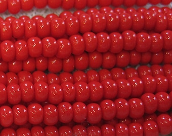 6/0 Light Red Opaque Czech Glass Seed Beads