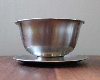 Danish Modern footed serving bowl, 1960s Selandia Denmark stainless steel.