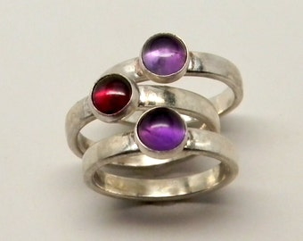 Sterlng silver stacking rings with gemstones