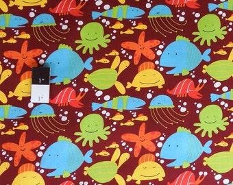 David Walker PWDW071 Beach Fish Bay Cotton Fabric 1 Yd