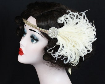 Champagne Feather, Swarovski Crystal, Flapper Headband, Hair Accessory, Great Gatsby, Costume Headpiece, Silver Beaded, Pick Your Colors