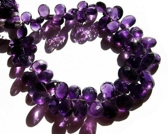 1/2 Strand Natural African Amethyst Faceted Pear Briolettes Size 9x7 - 10x8mm approx Amethyst gemstone Briolette, Semipreious Beads