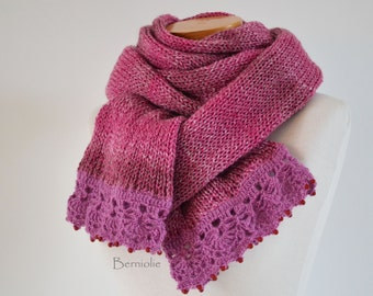 Knitted scarf, shades of pink with lace crochet trim and red beads K111