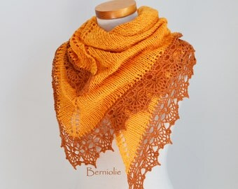 Knitted shawl with crochet lace trim, Gold, Yellow, Orange, M202