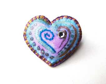 Embroidered Heart Pin, Fiber Art Brooch with Vintage Rhinestone, Pink Gold and Aqua Hand Painted Fabric Jewelry