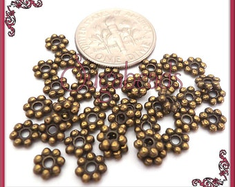 100 Antiqued Brass Tone Metal Daisy Spacers 5mm DS8