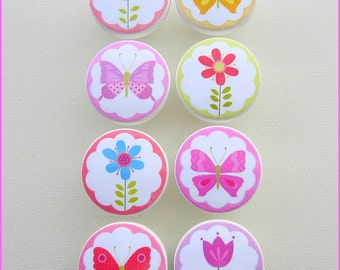 Butterfly Knobs • Drawer Knobs • Butterflies • Flower Knobs • Flower Garden Knobs • Dresser Knobs • Wood Knobs - 1-1/2 Inches