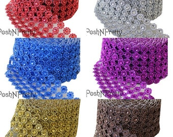 One yard Daisy Flowers Diamond mesh - 5 inches wide - Choose Colors