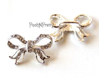 Two Ribbon bow rhinestone Crystal Sparkly Slider- for 3/8 ribbon