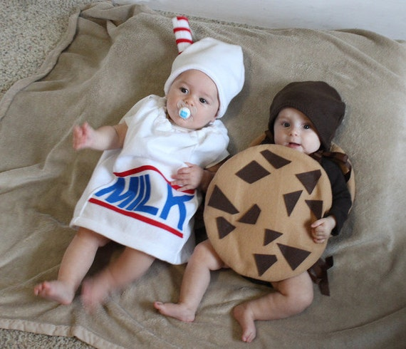Baby Twin Costumes Milk and Cookie Halloween Infant Toddler Newborn Halloween Costume Milk Carton Photo Prop Purim