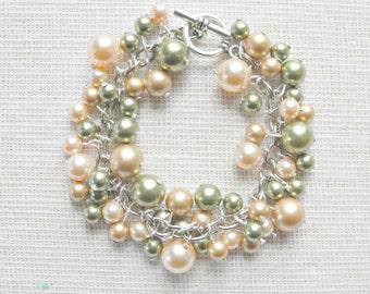 SALE (10 left!) Bubbly Bracelet - Gold and Green - Pearl Cluster Bracelet