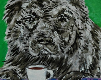 caucasian ovcharka coffee dog art tile coaster gift new impressionism animals artist