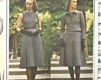 Vogue 2495 - Vintage 1970s Guy Laroche Dress Pattern with Cropped Jacket