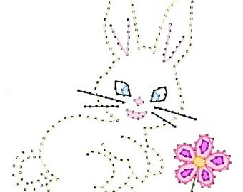 Easter Spring Bunny Paper Embroidery Pattern for Greeting Cards