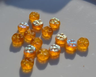 Golden AB Moon Face Beads 10