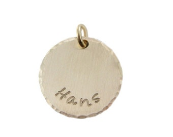 ADD a Name Charm- 5/8 inch Round Hammered Edge 14k Gold Filled Tag (AO054)