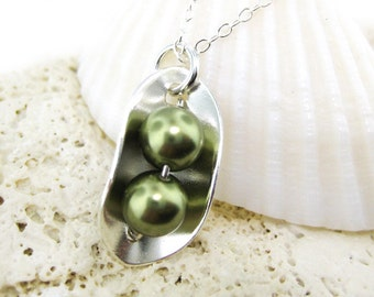 Two Peas In a Pod Necklace - Sterling silver and Light Green Swarovski Crystal Pearls (NP002)